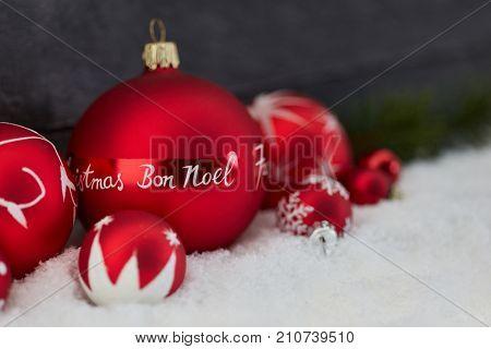 Bon Noel (Merry Christmas) as christmas greet on bauble