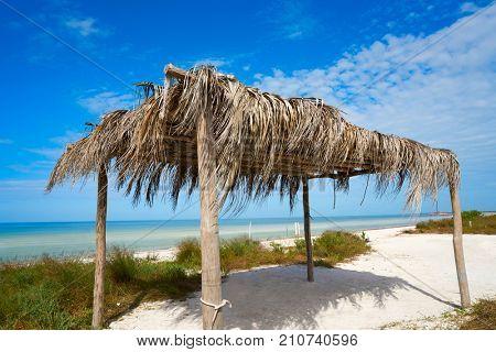Holbox Island beach hut palapa in Quintana Roo of Mexico