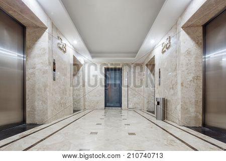 interior of modern elevator hall in office building