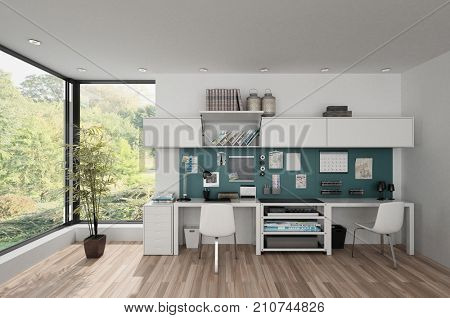 Workstations in furnished bright room with wooden parquet. 3d rendering