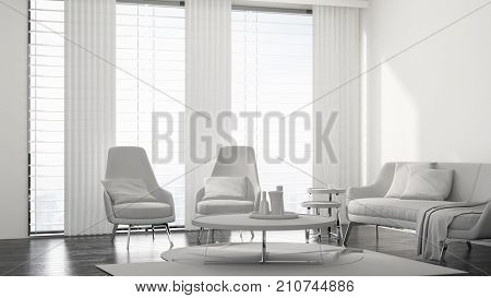 Fresh monochromatic white living room interior with a modern chrome upholstered lounge suite, rug and coffee table in front of bright windows. 3d rendering