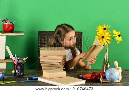 Schoolgirl Sits At Desk With Colorful Stationery, Books And Flowers