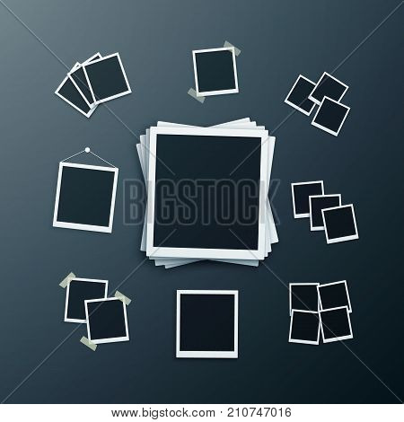 Illustration of Vector Instant Photo Frame. Realistic Instant Snapshot. Modern Photography Element. Polaroid Mockup