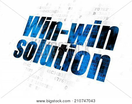 Finance concept: Pixelated blue text Win-win Solution on Digital background