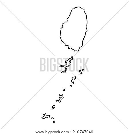 Saint Vincent and Grenadines map of black contour curves of vector illustration