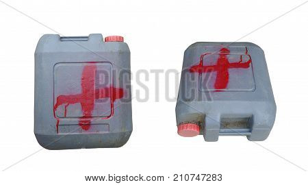 Dirty plastic gallon isolated on white background