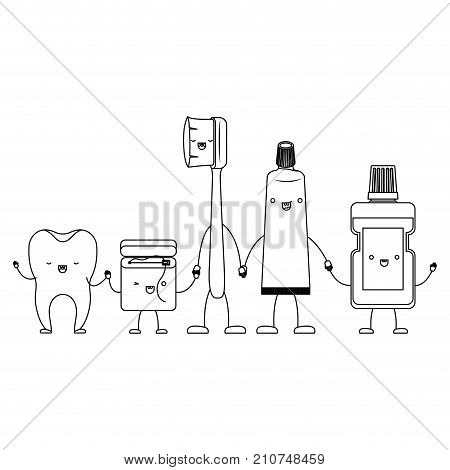 tooth and dental floss and toothbrush and toothpaste and mouthwash in cartoon holding hands in monochrome silhouette vector illustration poster