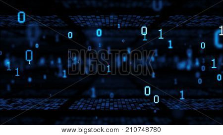 3d rendering. Many bytes of binary code flying through a camera with depth of field. Binary code or Digital Abstract technology background.