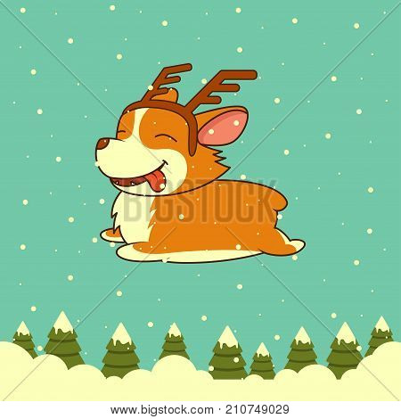 Vector Christmas dog on winter forest background. Welsh corgi dog wearing deer horn rim. for Xmas, New Year poster, flyer, greeting card, holiday, celebration, party, pet shop shelter pharmacy decoration.