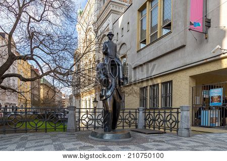 Prague, Czech Republic - March 15, 2017: Franz Kafka statue in the Jewish quarter by artist Jaroslav Rona.