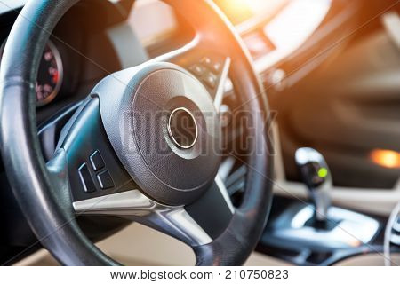 Interior View Of Car With Luxery Beige Salon