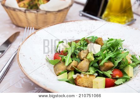 Fresh Green Salad With Pears, Feta Cheese And Avocado