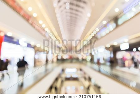 Abstract blur shopping mall with bokeh light for your background