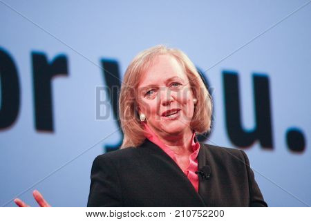 LAS VEGAS NV - JUNE 5 2012: HP president and chief executive officer Meg Whitman delivers an address to HP Discover 2012 conference on June 5 2012 in Las Vegas NV