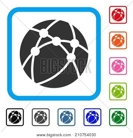 Browser icon. Flat grey pictogram symbol inside a light blue rounded rectangle. Black, gray, green, blue, red, orange color versions of Browser vector. Designed for web and app user interface.