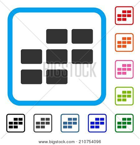 Calendar Rectangle Grid icon. Flat grey iconic symbol in a light blue rounded square. Black, gray, green, blue, red, orange color variants of Calendar Rectangle Grid vector.
