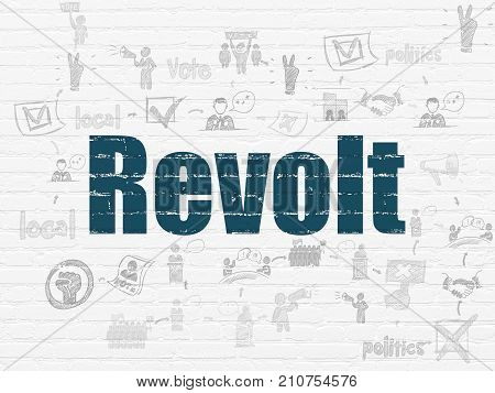 Political concept: Painted blue text Revolt on White Brick wall background with Scheme Of Hand Drawn Politics Icons
