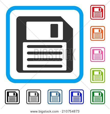 Floppy Disk icon. Flat grey iconic symbol inside a light blue rounded rectangular frame. Black, gray, green, blue, red, orange color additional versions of Floppy Disk vector.