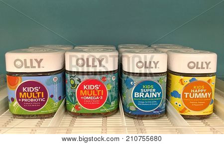 Alameda CA - October 05 2017: Grocery store shelf with OLLY brand vitamins. OLLY has a complete line of vitamins for the whole family and they are all gummy vitamins