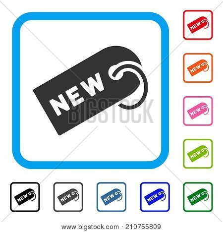 New Tag icon. Flat gray iconic symbol inside a light blue rounded rectangular frame. Black, gray, green, blue, red, orange color versions of New Tag vector. Designed for web and software interfaces.
