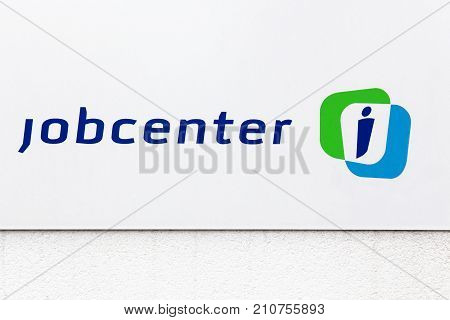Aarhus, Denmark - July 15, 2017: Jobcenter logo in Denmark. Jobcenter is owned by the Danish municipalities. Jobcenters assist unemployed people to find a job and help companies to find new employees