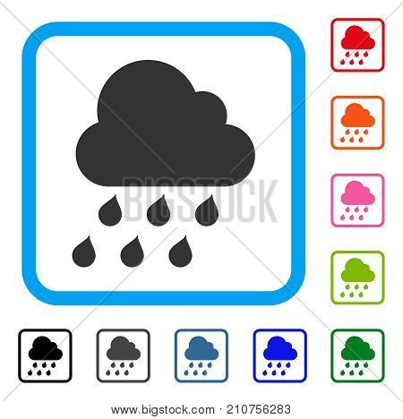 Rain Cloud icon. Flat grey iconic symbol inside a light blue rounded squared frame. Black, gray, green, blue, red, orange color additional versions of Rain Cloud vector.