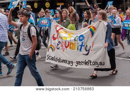 Adelaide, AU - October 22, 2017: Hundreds of supporters of Marriage Equality gather at Adelaide's Old Parliament House to march for equal rights.