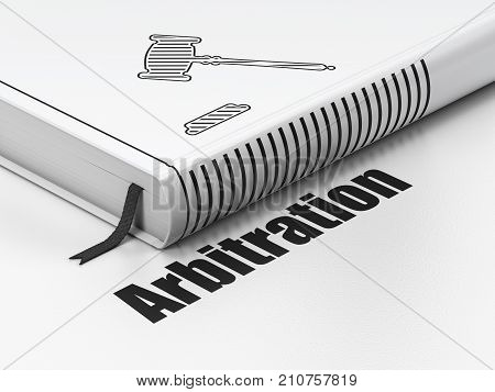 Law concept: closed book with Black Gavel icon and text Arbitration on floor, white background, 3D rendering