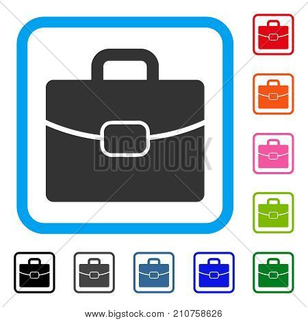 Briefcase icon. Flat gray pictogram symbol in a light blue rounded rectangle. Black, gray, green, blue, red, orange color additional versions of Briefcase vector. Designed for web and software UI.