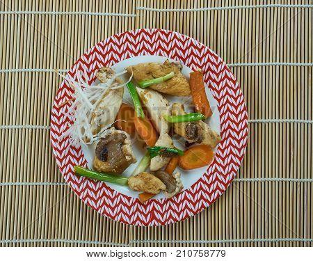 Szechuan stir-fry Chengdu Chicken , close up