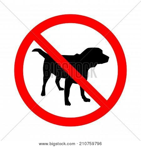 Sign No Dogs isolated on white background. Prohibition sign. Not Allowed Sign. Labrador retriver. Vector illustration