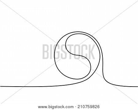 Yin yang symbol sign. Continuous line drawing icon. Vector illustration