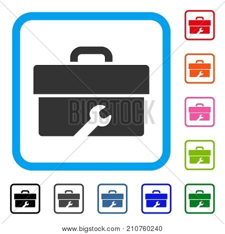 Toolbox icon. Flat grey iconic symbol in a light blue rounded squared frame. Black, gray, green, blue, red, orange color additional versions of Toolbox vector. Designed for web and software UI.