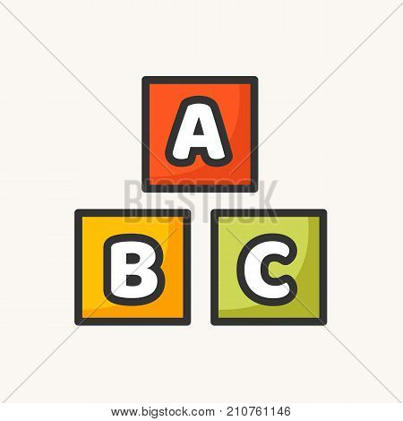 Alphabet cubes with letters A,B,C. Alphabet toy. Vector stock.