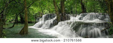 Huai Mae Khamin Waterfall (Seventh floor) tropical rainforest at Srinakarin Dam Kanchanaburi Thailand.Huai Mae Khamin Waterfall is the most beautiful waterfall in Thailand. Unseen Thailand