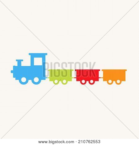 Train toy. Cartoon train. Children's toy. Train with blocks. Vector stock.