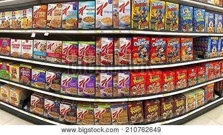 Alameda CA - October 10 2017: Grocery store isle with boxes of various brands of breakfast cereal.