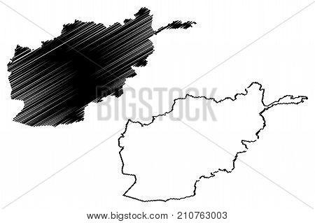 Afghanistan map vector illustration , scribble sketch Afghanistan