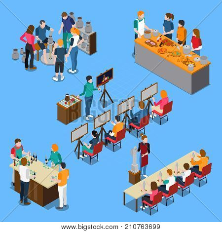 Isometric set with pottery master class, bartending course and cooking, drawing and sculpture lessons isolated vector illustration