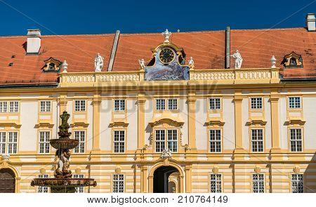 Details of Stift Melk, a Benedictine in the town of Melk, Lower Austria