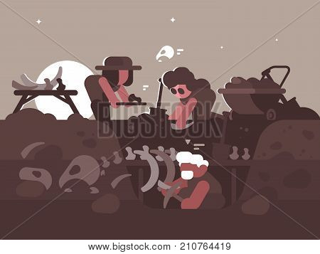 Group of archaeologists on excavations. Men dig out dinosaur bones at night. Vector illustration