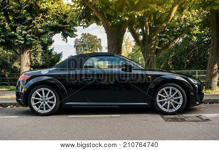 STRASBOURG FRANCE - OCT 1 2017: Luxury sport Audi TT sport race car parked on a street in Strasbourg