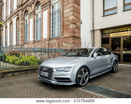 Luxury Audi Limousine Parked On The Streets Of Strasbourg