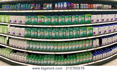 Alameda CA - October 16 2017: Grocery store shelf with containers of contact solution and remedies. Opti-Free solution is one the doctor recommended brand of contact lens solution.