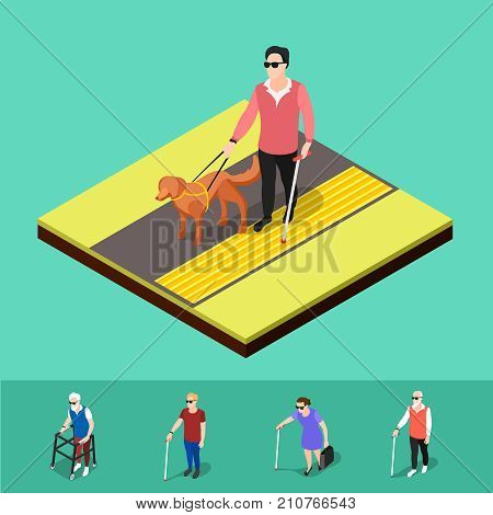 Isometric blind people background with human characters of partially sighted people walking on corduroy tactile paving vector illustration
