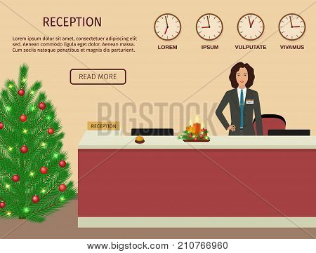 Hotel reception desk with standing employee and christmas design. Xmas holiday reception service. Flat vector illustration.