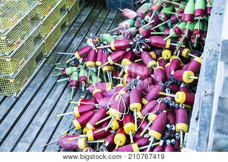 Yellow lobster traps and many different colored buoys are stored on a dock ready to be placed in the ocean in Maine