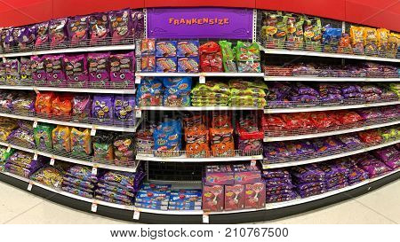 Alameda CA - October 16 2017: Grocery store aisle with Halloween candy and treats. Trick-or-treating is a Halloween custom for children in many countries.