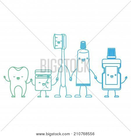 8b6a32af3 tooth and dental floss and toothbrush and toothpaste and mouthwash in cartoon  holding hands in degraded