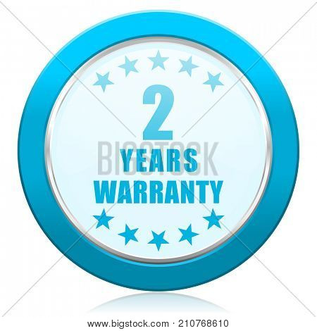 Warranty guarantee 2 year blue chrome silver metallic border web icon. Round button for internet and mobile phone application designers.